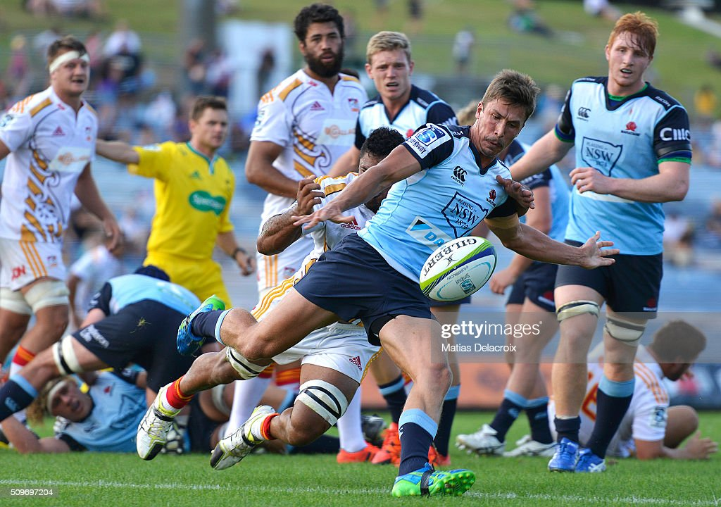 Harry Jones to Waratahs kicks the ball during the Super Rugby trial match between the Chiefs and the Waratahs at Rotorua International Stadium on February 12, 2016 in Rotorua, New Zealand.