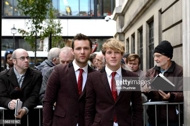 Harry Judd and Dougie Poynter of McFly sighted arriving at BBC Radio 2 on November 13 2012 in London England