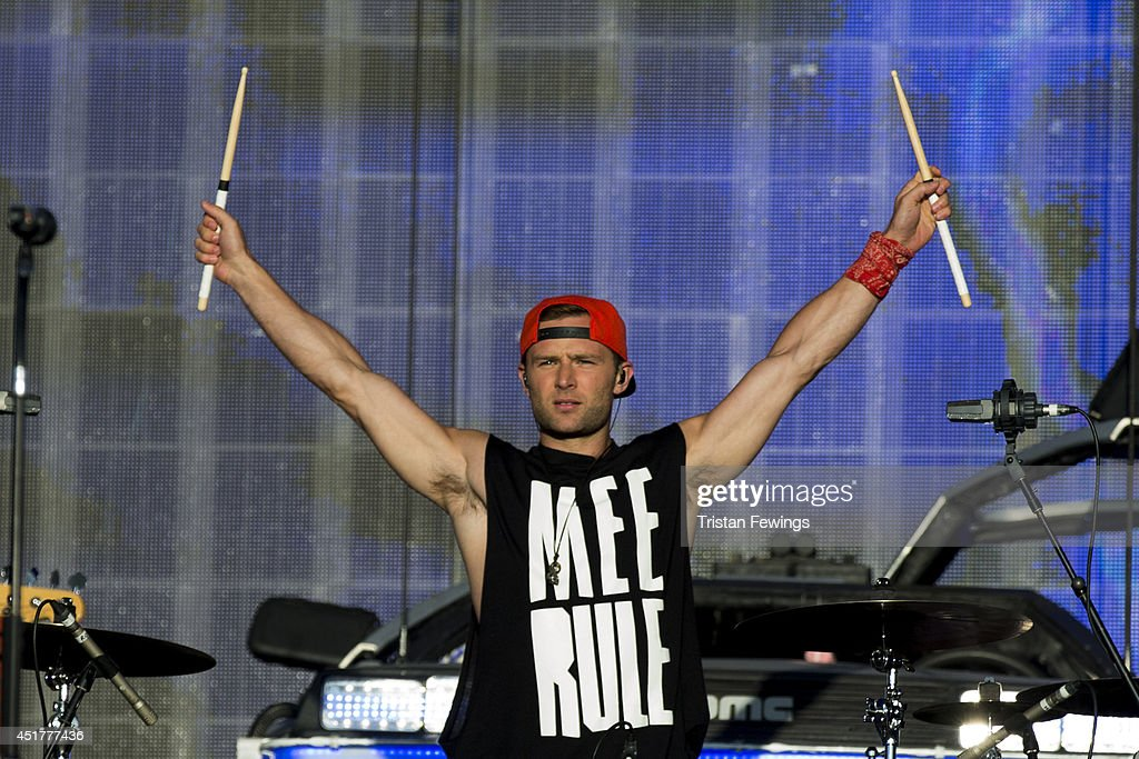 <a gi-track='captionPersonalityLinkClicked' href=/galleries/search?phrase=Harry+Judd&family=editorial&specificpeople=207089 ng-click='$event.stopPropagation()'>Harry Judd</a> of McBusted performs on stage at British Summer Time Festival at Hyde Park on July 6, 2014 in London, United Kingdom.
