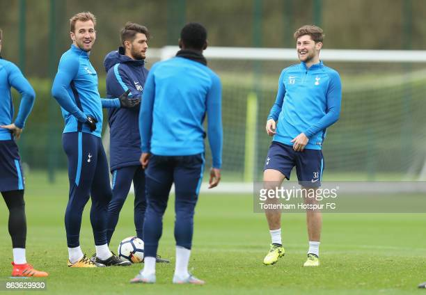 Harry Kane and Ben Davies of Tottenham during the Tottenham Hotspur training session at Tottenham Hotspur Training Centre on October 20 2017 in...