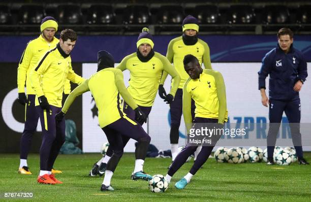 Harry Kane and Davinson Sanchez of Tottenham Hotspur during a Tottenham Hotspur training session ahead of the Chamions League Group H match between...