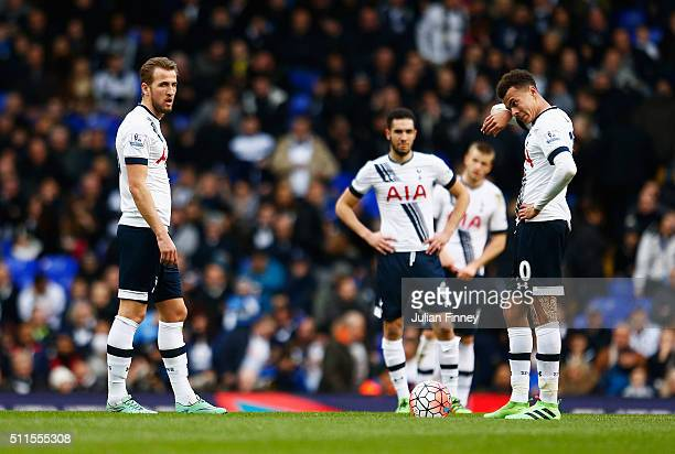 Harry Kane and Dele Alli of Tottenham Hotspur look dejected after the Crystal Palace goal during the Emirates FA Cup Fifth Round match between...