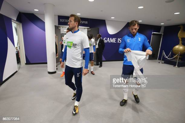 Harry Kane and Jan Vertonghen of Tottenham prepare to walk out for the warm up prior to the Premier League match between Tottenham Hotspur and AFC...