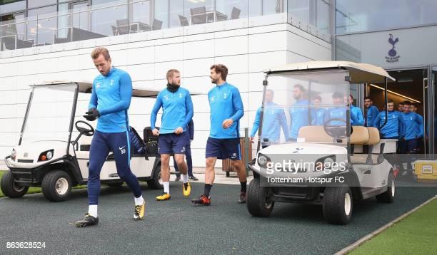 Harry Kane Eric Dier and Fernando Llorente of Tottenham during the Tottenham Hotspur training session at Tottenham Hotspur Training Centre on October...