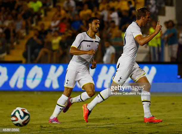 Harry Kane from Tottenham Hotspur celebrates a goal during the AEL Limassol FC v Tottenham Hotspur UEFA Europa League Qualifying PlayOff match on...