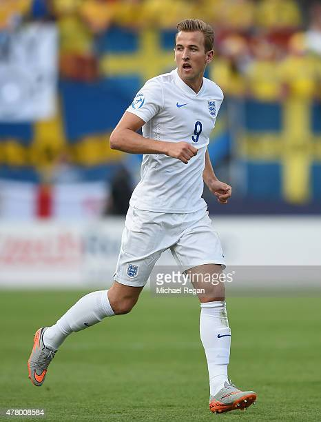 Harry Kane in action during the UEFA Under21 European Championship 2015 match between Sweden and England at Andruv Stadium on June 21 2015 in Olomouc...