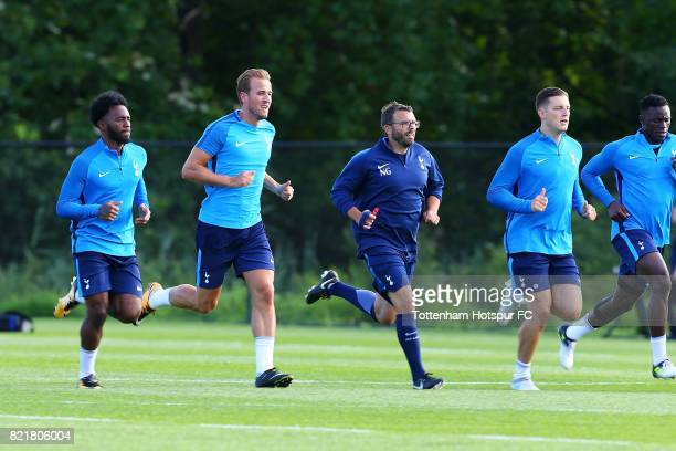 Harry Kane Kevin Wimmer Victor Wanyama and GeorgesKevin Nkoudou of Tottenham Hotspur warmup at the New York Red Bull Traning Facility on July 24 2017...