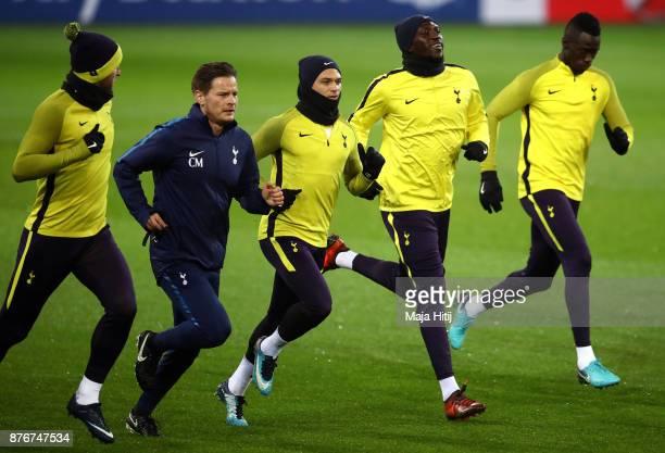 Harry Kane Kieran Trippier Moussa Sissoko and Davinson Sanchez of Tottenham Hotspur during a Tottenham Hotspur training session ahead of the Chamions...