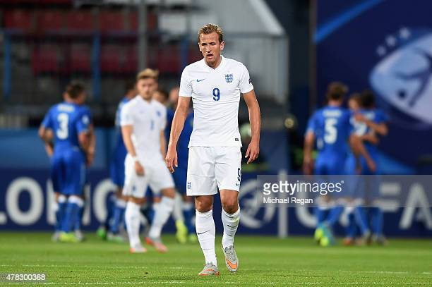Harry Kane looks dejected after Italy score to make it 10 during the UEFA Under21 European Championship match between England and Italy at Andruv...