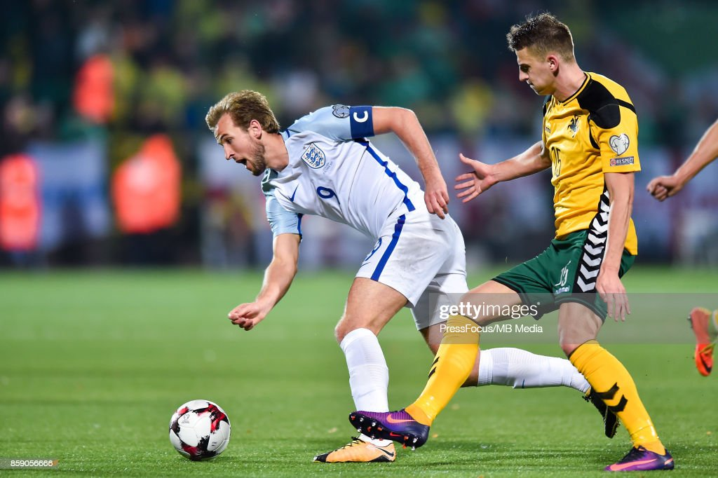 Harry Kane of England and Edvinas Girdvainis of Lithuania during the FIFA 2018 World Cup Qualifier between Lithuania and England on October 8, 2017 in Vilnius, Lithuania.