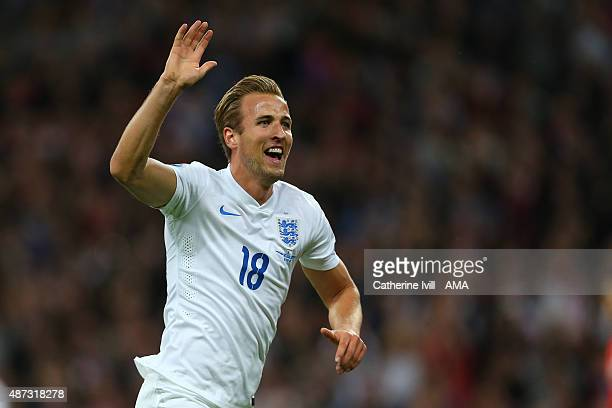 Harry Kane of England celebrates after he scores to make it 10 during the UEFA Euro 2016 Qualifier Group E match between England and Switzerland at...