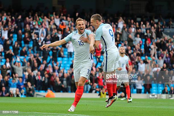 Harry Kane of England celebrates after scoring a goal to make it 10 with Jamie Vardy during the International Friendly match between England and...