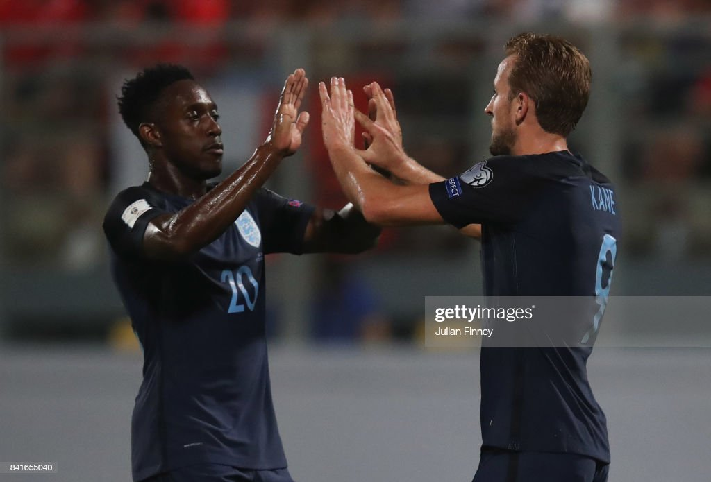 Harry Kane of England celebrates as he scores their fourth goal with Danny Welbeck of England during the FIFA 2018 World Cup Qualifier between Malta and England at Ta'Qali National Stadium on September 1, 2017 in Valletta, Malta.