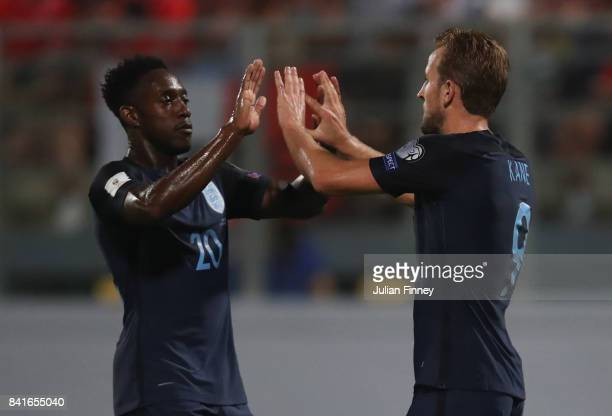 Harry Kane of England celebrates as he scores their fourth goal with Danny Welbeck of England during the FIFA 2018 World Cup Qualifier between Malta...