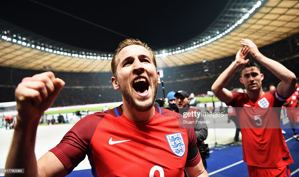Harry Kane of England celebrates during the international friendly match between Germany and England at Olympiastadion on March 26 2016 in Berlin...