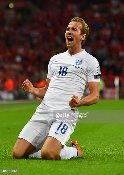 Harry Kane of England celebrates scoring the first goal during the UEFA EURO 2016 Group E qualifying match between England and Switzerland at Wembley...