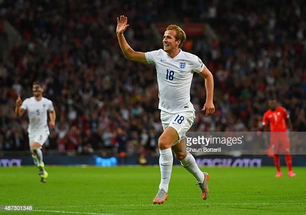 Harry Kane of England celebrates scoring the first goal during the UEFA EURO 2016 Group E qualifying match between England and Switzerland at Wembley...