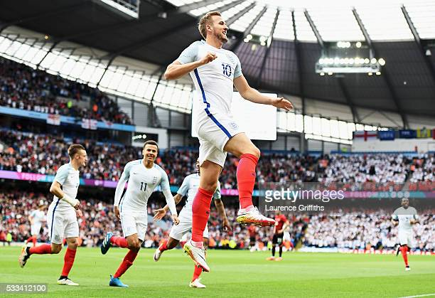 Harry Kane of England celebrates scoring the opening goal during the International Friendly match between England and Turkey at Etihad Stadium on May...