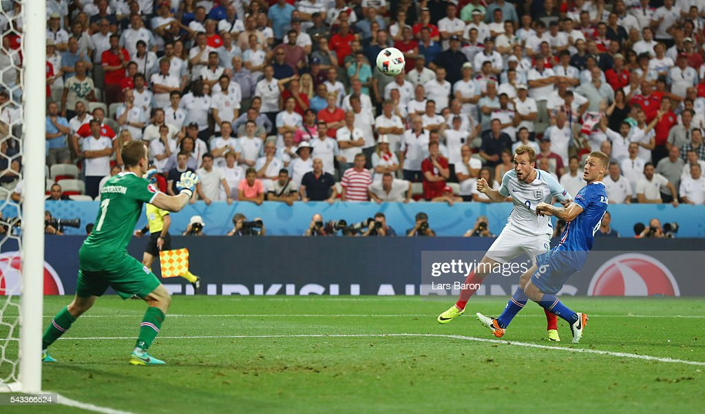 <a gi-track='captionPersonalityLinkClicked' href=/galleries/search?phrase=Harry+Kane+-+Soccer+Player&family=editorial&specificpeople=13636610 ng-click='$event.stopPropagation()'>Harry Kane</a> of England heads the ball during the UEFA EURO 2016 round of 16 match between England and Iceland at Allianz Riviera Stadium on June 27, 2016 in Nice, France.