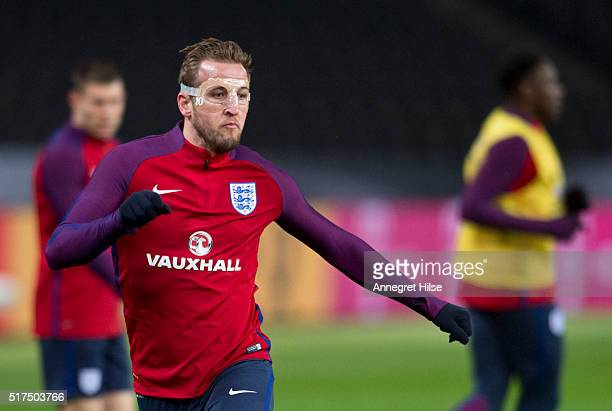 Harry Kane of England in action during the England training session at Olympic Stadium on March 25 2016 in Berlin Germany