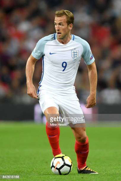Harry Kane of England in action during the FIFA 2018 World Cup Qualifier between England and Slovakia at Wembley Stadium on September 4 2017 in...