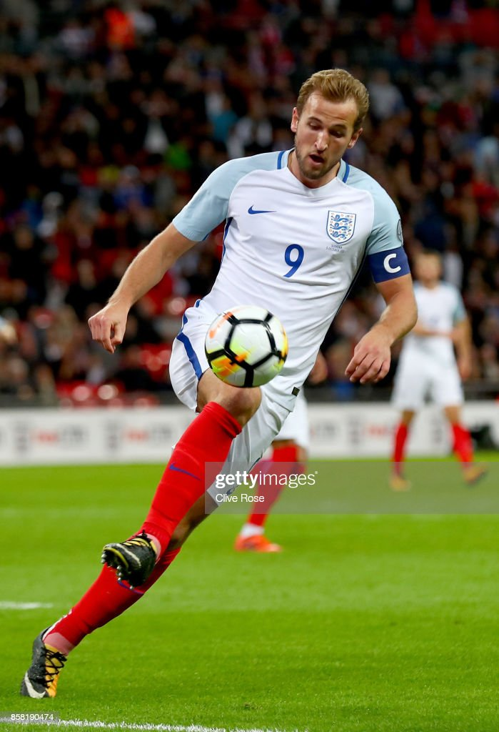 Harry Kane of England in action during the FIFA 2018 World Cup Group F Qualifier between England and Slovenia at Wembley Stadium on October 5, 2017 in London, England..