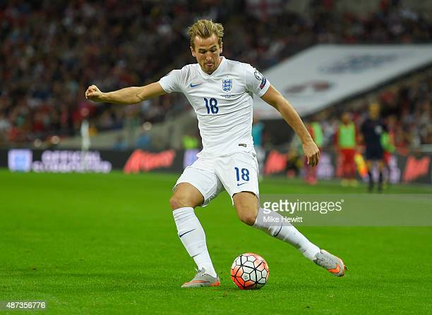 Harry Kane of England in action during the UEFA EURO 2016 Group E qualifying match between England and Switzerland at Wembley Stadium on September 8...