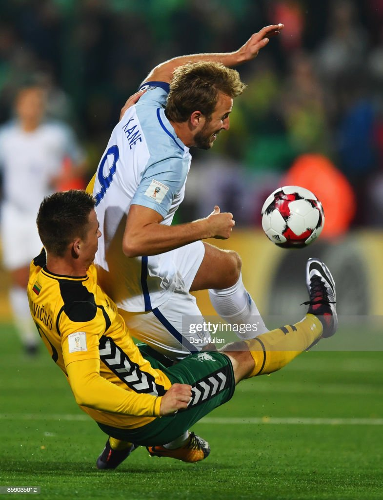 Harry Kane of England is tackled by Linas Klimavicius of Lithuania during the FIFA 2018 World Cup Group F Qualifier between Lithuania and England at LFF Stadium on October 8, 2017 in Vilnius, Lithuania.