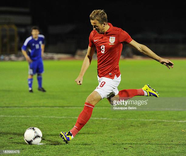 Harry Kane of England kicks from the penalty spot to score his team's second goal during the 2015 UEFA European U21 Championships Qualifying Group 1...