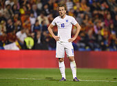 Harry Kane of England looks despondent during the international friendly match between Spain and England at Jose Rico Perez Stadium on November 13...