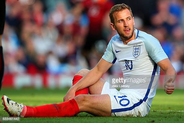 Harry Kane of England looks on during the International Friendly match between England and Turkey at Etihad Stadium on May 22 2016 in Manchester...