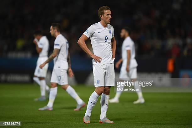 Harry Kane of England looks on during the UEFA Under21 European Championship match between England and Italy at Andruv Stadium on June 24 2015 in...
