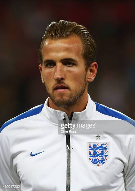Harry Kane of England looks on prior to the UEFA EURO 2016 Group E qualifying match between England and Estonia at Wembley on October 9 2015 in...