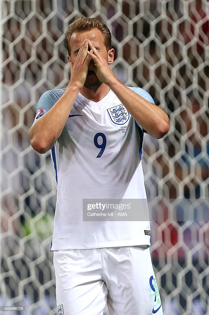 Harry Kane of England reacts during the UEFA Euro 2016 Round of 16 match between England and Iceland at Allianz Riviera Stadium on June 27, 2016 in Nice, France.