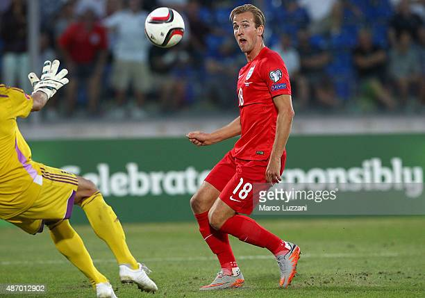 Harry Kane of England scores his goal during the UEFA EURO 2016 Qualifier between San Marino and England at Stadio Olimpico on September 5 2015 in...