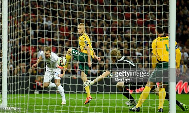 Harry Kane of England scores the fourth goal during the EURO 2016 Qualifier match between England and Lithuania at Wembley Stadium on March 27 2015...