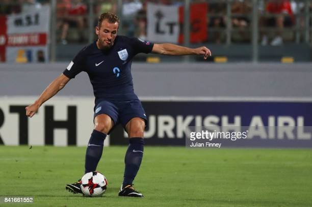Harry Kane of England scores their first goal during the FIFA 2018 World Cup Qualifier between Malta and England at Ta'Qali National Stadium on...