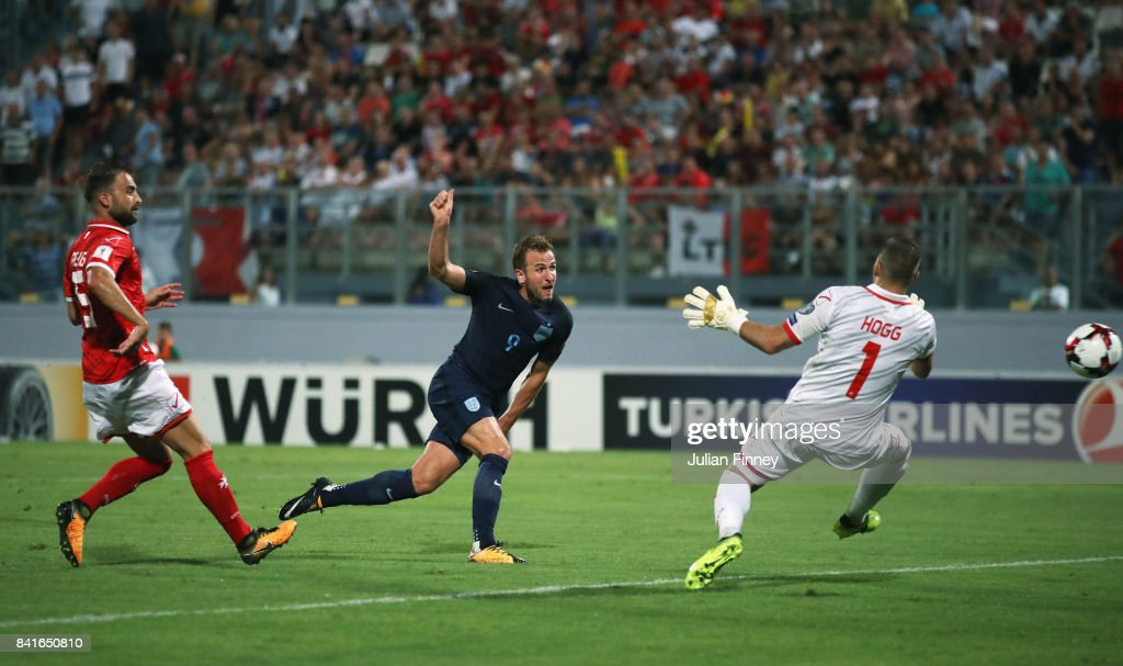 Harry Kane of England scores their fourth goal past Andrew Hogg of Malta during the FIFA 2018 World Cup Qualifier between Malta and England at Ta'Qali National Stadium on September 1, 2017 in Valletta, Malta.