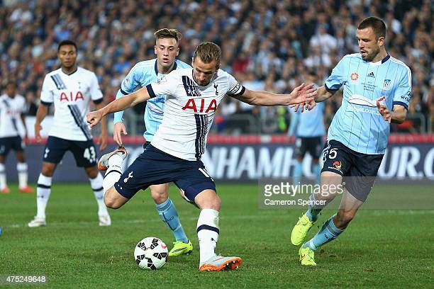 Harry Kane of Hotspur takes a shot at goal during the international friendly match between Sydney FC and Tottenham Spurs at ANZ Stadium on May 30...