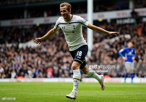 Harry Kane of Spurs celebrates after scoring a goal during the Barclays Premier League match between Tottenham Hotspur and Leicester City at White...