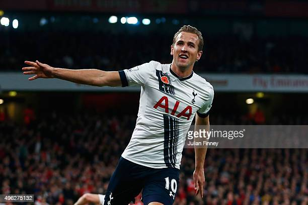 Harry Kane of Spurs celebrates scoring his side's opening goal during the Barclays Premier League match between Arsenal and Tottenham Hotspur at the...