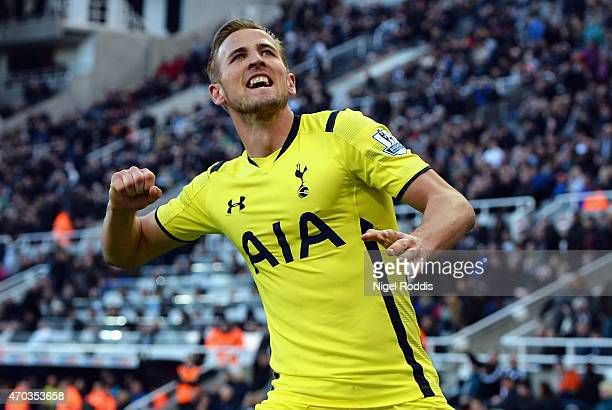 Harry Kane of Spurs celebrates scoring their third goal during the Barclays Premier League match between Newcastle United and Tottenham Hotspur at St...