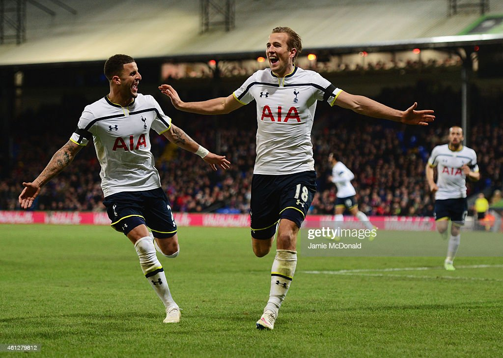 <a gi-track='captionPersonalityLinkClicked' href=/galleries/search?phrase=Harry+Kane+-+Soccer+Player&family=editorial&specificpeople=13636610 ng-click='$event.stopPropagation()'>Harry Kane</a> of Spurs (18) celebrates with <a gi-track='captionPersonalityLinkClicked' href=/galleries/search?phrase=Kyle+Walker&family=editorial&specificpeople=5609702 ng-click='$event.stopPropagation()'>Kyle Walker</a> as he scores their first goal during the Barclays Premier League match between Crystal Palace and Tottenham Hotspur at Selhurst Park on January 10, 2015 in London, England.