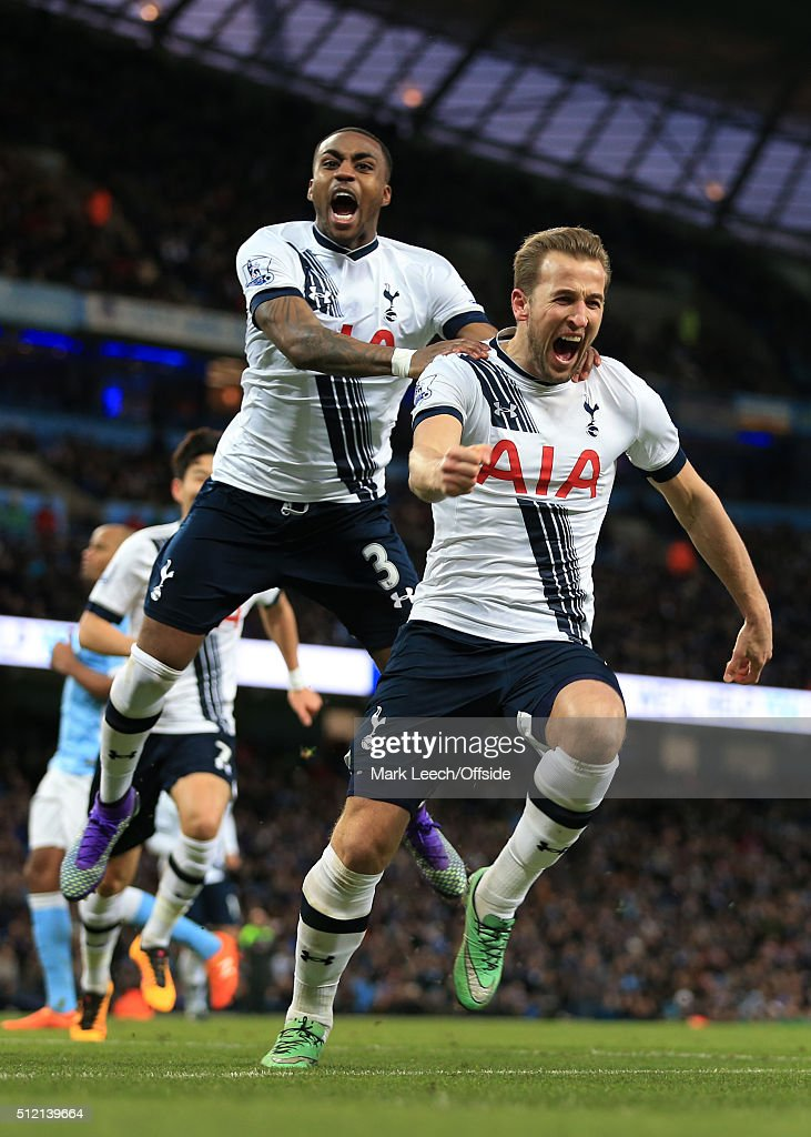 Harry Kane of Spurs (R) celebrates with teammate Danny Rose after scoring their 1st goal during the Barclays Premier League match between Manchester City and Tottenham Hotspur at the Etihad Stadium on February 14, 2016 in Manchester, England.
