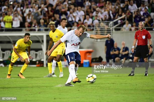 Harry Kane of Spurs makes the finale score 42 from the penalty spot during the International Champions Cup match between Paris Saint Germain and...