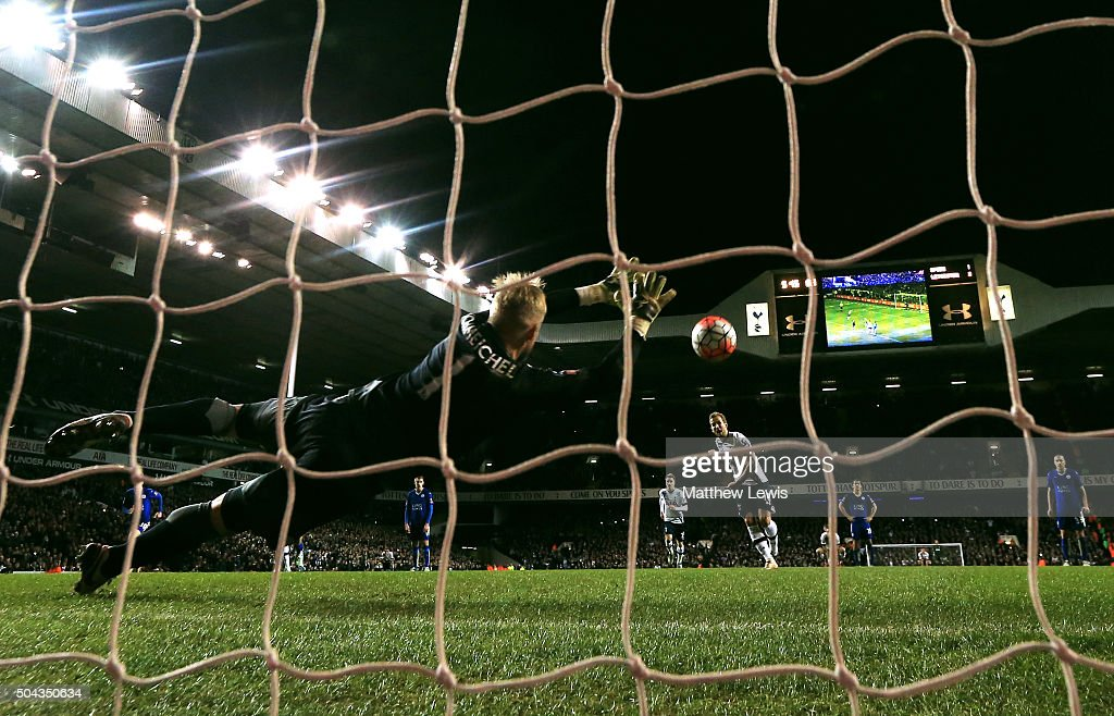 Harry Kane of Spurs scores a late penalty past goalkeeper Kasper Schmeichel of Leicester City to level the scores at 2-2 during The Emirates FA Cup third round match between Tottenham Hotspur and Leicester City at White Hart Lane on January 10, 2016 in London, England.