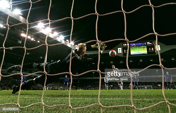 Harry Kane of Spurs scores a late penalty past goalkeeper Kasper Schmeichel of Leicester City to level the scores at 22 during The Emirates FA Cup...