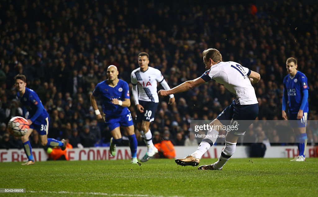 Harry Kane of Spurs scores a late penalty to level the scores at 2-2 during The Emirates FA Cup third round match between Tottenham Hotspur and Leicester City at White Hart Lane on January 10, 2016 in London, England.
