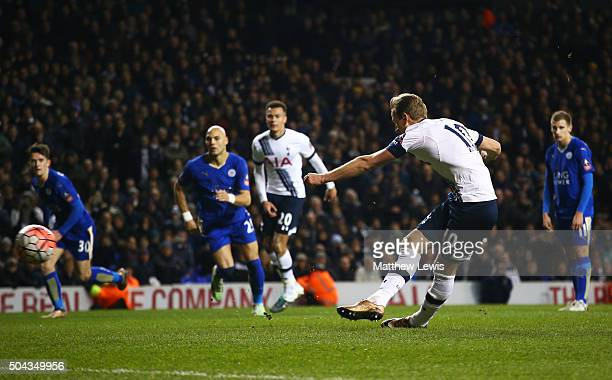 Harry Kane of Spurs scores a late penalty to level the scores at 22 during The Emirates FA Cup third round match between Tottenham Hotspur and...