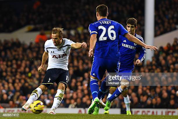 Harry Kane of Spurs scores his team's first goal during the Barclays Premier League match between Tottenham Hotspur and Chelsea at White Hart Lane on...